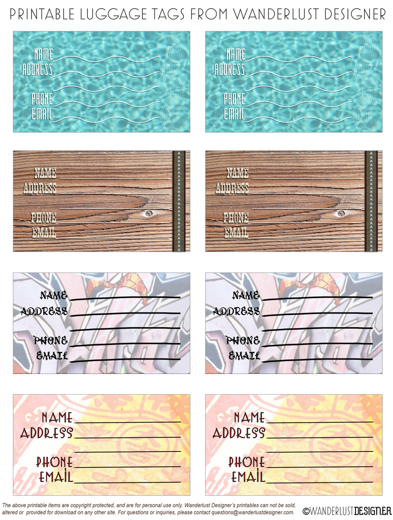 Free Printable Luggage Tags by Wanderlust Designer