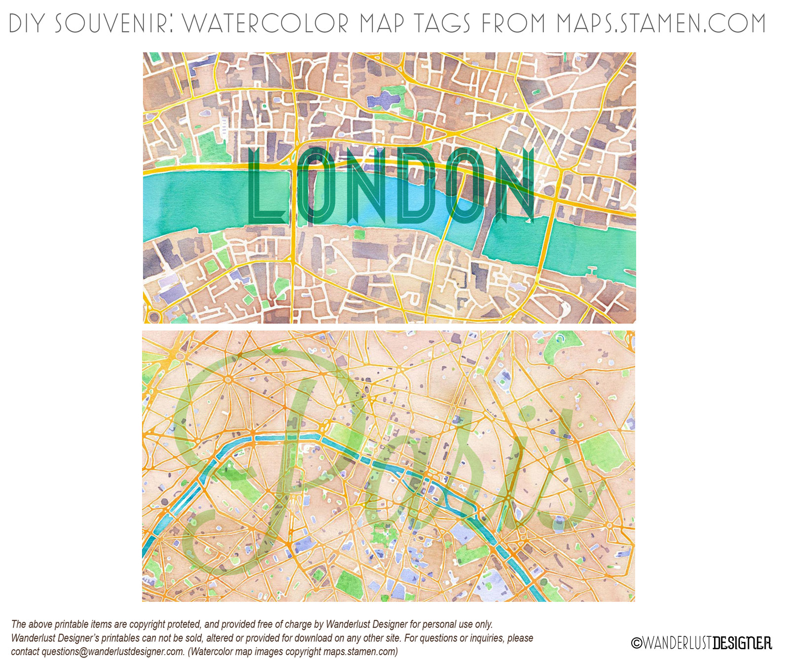 Paris and London Map Watercolor Tags (map images from maps.stamen.com)