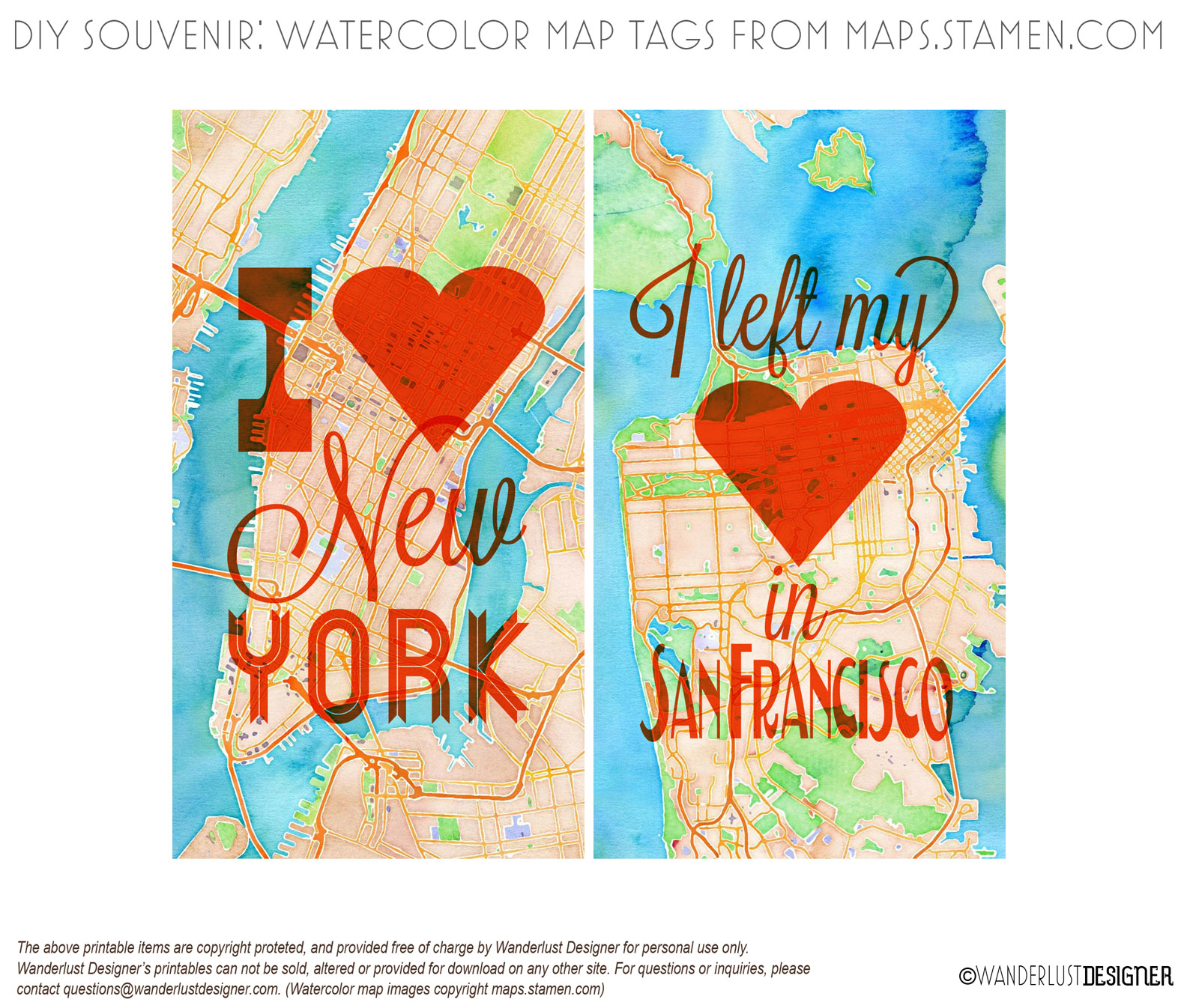 Printable San Francisco and New York City Watercolor Map Tags (map images by maps.stamen.com)