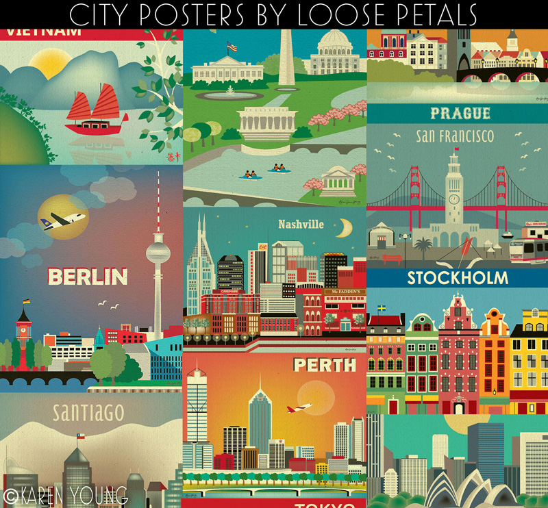 Collage of City Poster Prints by Karen Young of Loose Petals