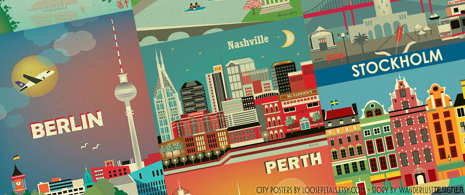City Posters by Karen Young of Loose Petals