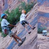 Rock Climbing on School Rock, Moab, Utah