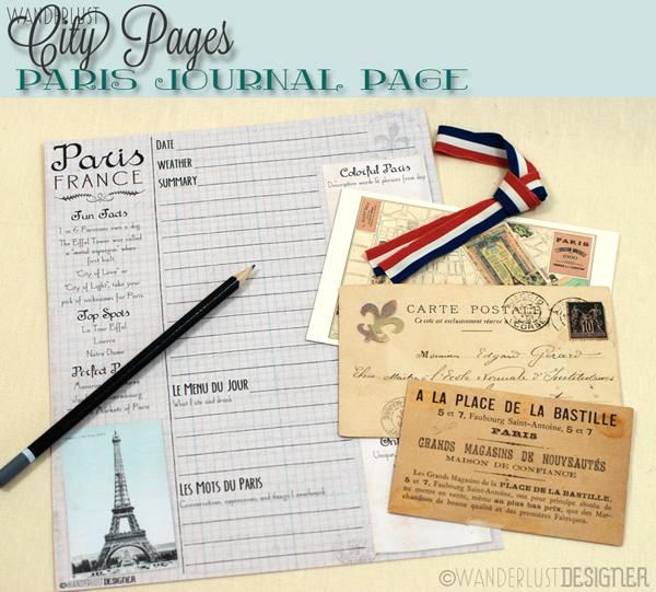 City Pages: Printable Paris Journal Page by Wanderlust Designer