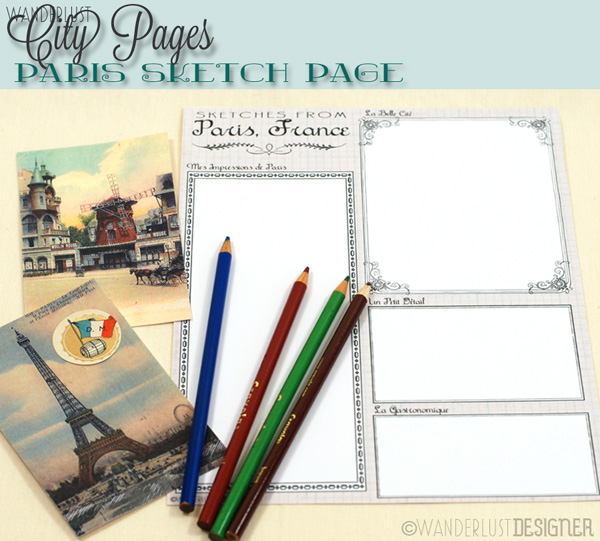 City Pages: Printable Paris Sketch Page by Wanderlust Designer