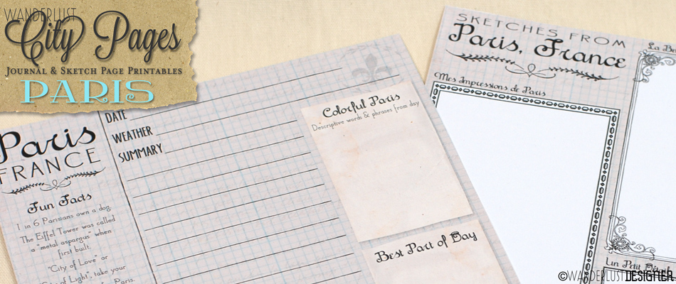 City Pages: Free Printable Paris Sketch and Journal Page by Wanderlust Designer