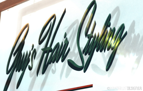 Guy's Hair Stylilng - Retro Font at a Local Barber Shop by Wanderlust Designer