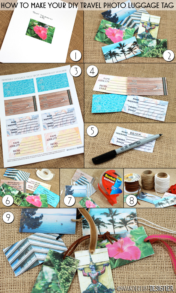 How to Make a Travel Photo Luggage Tag by Wanderlust Designer