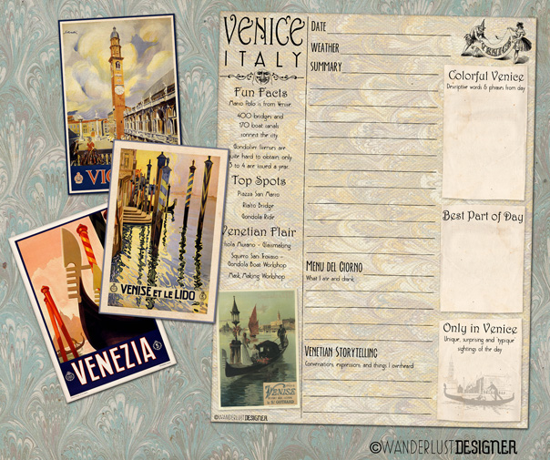 Free Printable Venice Journal Page to Capture Your Trip Memories from Wanderlust Designer