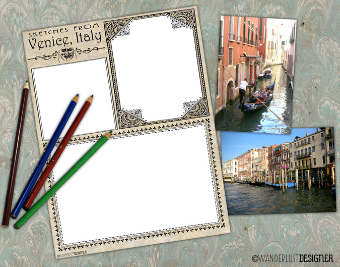 Free Printable Venice Sketch Page to Capture Memories from Wanderlust Designer