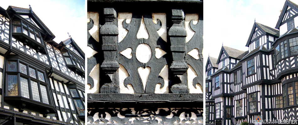Graphic Tudor Timber Framing in Shrewsbury, England