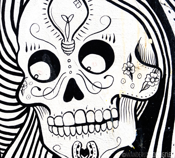 Dia de los Muertos Style Skull Street Art, Clarion Alley, Mission District, San Francisco (photo by Wanderlust Designer)
