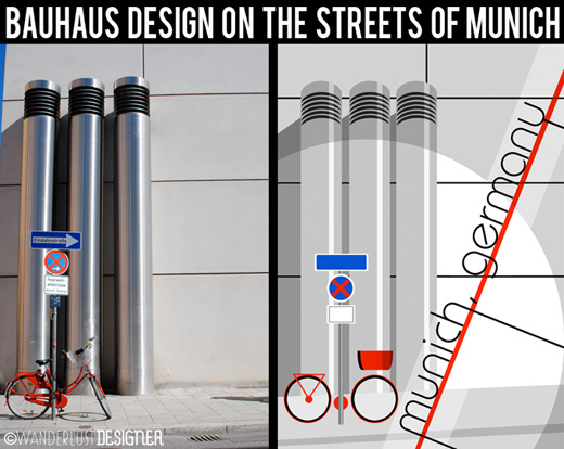 Bauhaus Design on the Streets of Munich - A Photograph Turned into Artwork (photo and design by Wanderlust Designer)