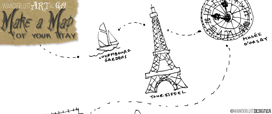 Art on the Go: Map Sketch of My Visit to Paris by Wanderlust Designer