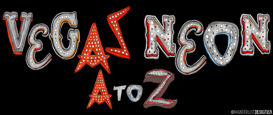 Las Vegas Neon A to Z - Hand Drawn Neon Letters by Wanderlust Designer