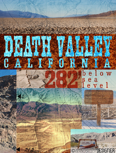 Death Valley, California 282' Below Sea Level - Postcard, Poster, & Notecards by Wanderlust Designer