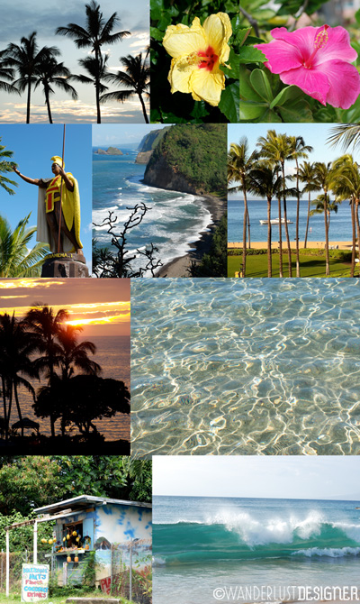 Collage of Vacation Photos from Hawaii Used to Make a DIY Souvenir Garland by Wanderlust Designer