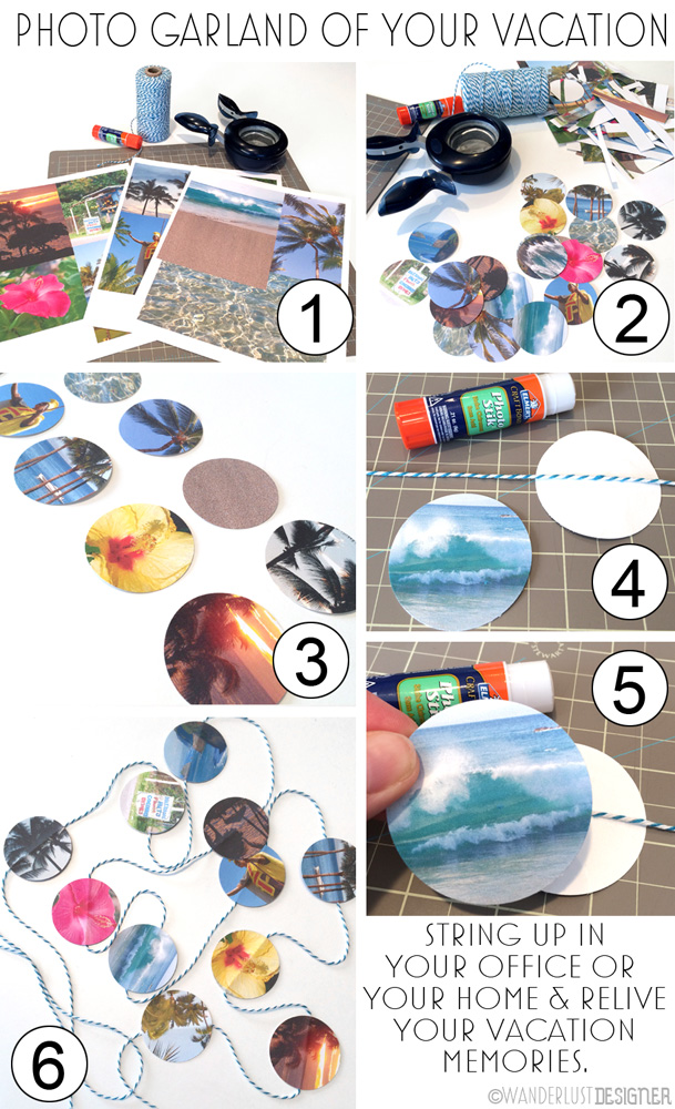 How to Make Your DIY Photo Garland Using Vacation Photos by Wanderlust Designer