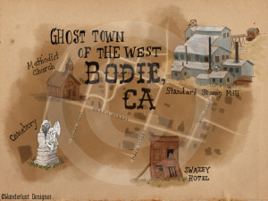 Bodie Ghost Town Map by Wanderlust Designer