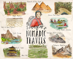 A Traveler's Illustrated Bucket List by Wanderlust Designer