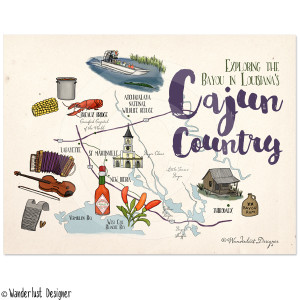 Cajun Country Illustrated Map