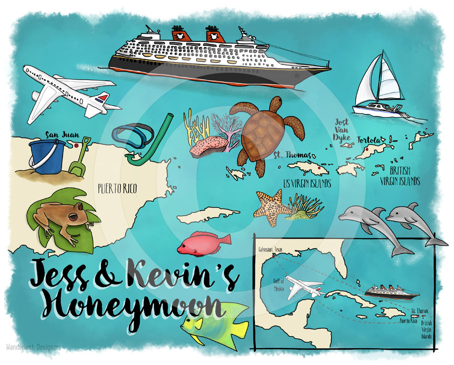 Custom Map: Caribbean Cruise by Wanderlust Designer
