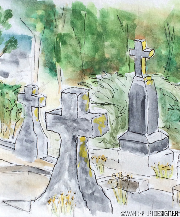 Cemetery Scene Close Up - Half Moon Bay, CA (watercolor by Wanderlust Designer)