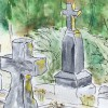 Art on the Go: Sketching in a Cemetery: Creative Fun Beyond Halloween (watercolor by Wanderlust Designer)
