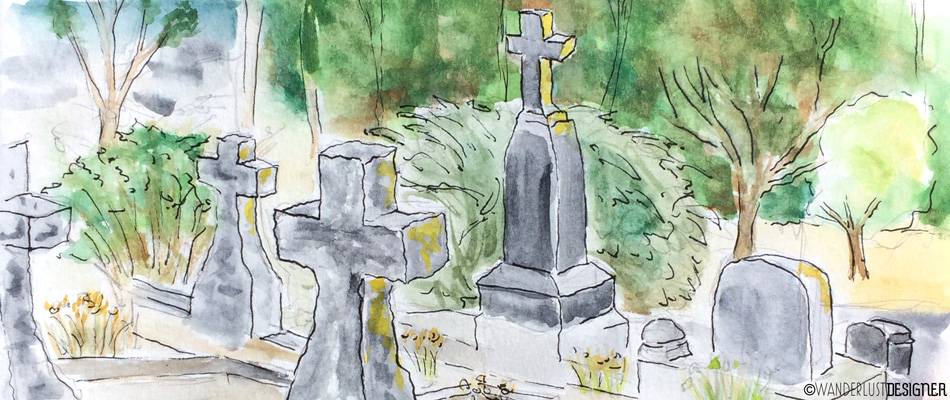 Art on the Go: Sketching in a Cemetery and Creative Projects Beyond Halloween (watercolor by Wanderlust Designer)