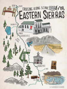 Cruising 395 Eastern Sierras Map by Wanderlust Designer