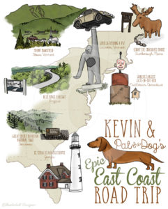 Custom Illustrated Map: East Coast Road Trip by Wanderlust Designer
