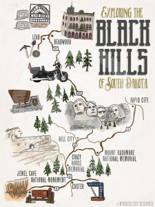Exploring the Black Hills Map by Wanderlust Designer