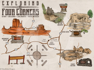 Four Corners Map by Wanderlust Designer
