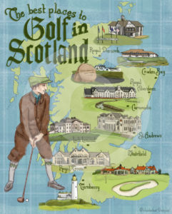 Golf in Scotland Illustrated Map by Wanderlust Designer