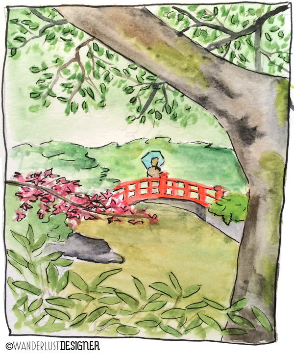 Private Japanese Garden in Tokyo (watercolor by Wanderlust Designer)