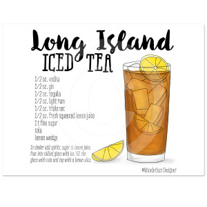 Long Island Iced Tea Cocktail Recipe by Wanderlust Designer
