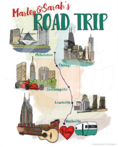Custom Illustrated Map: Mid West Road Trip by Wanderlust Designer