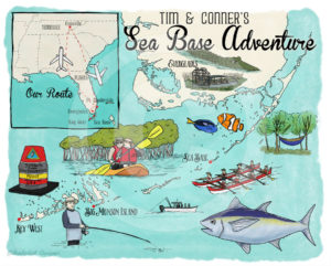 Custom Illustrated Map: Sea Base Adventure by Wanderlust Designer