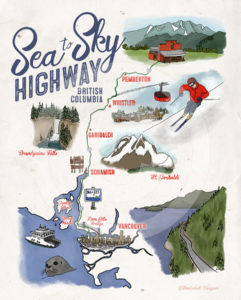 Sea to Sky Highway Road Trip Illustrated Map by Wanderlust Designer
