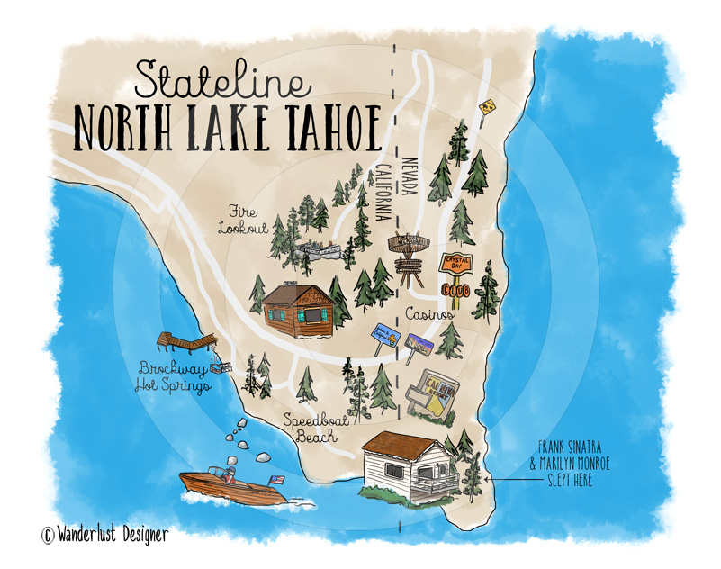 Stateline North Lake Tahoe Map by Wanderlust Designer