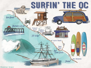Surfing the OC Map by Wanderlust Designer