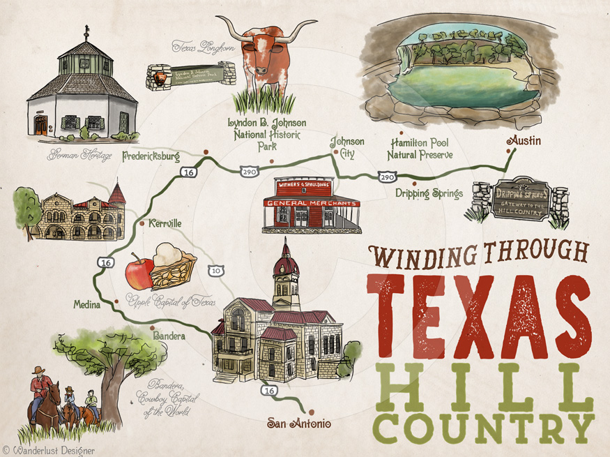Texas Hill Country Map by Wanderlust Designer