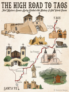The High Road to Taos Map by Wanderlust Designer