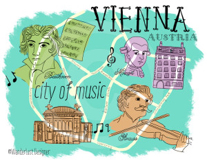 Vienna City of Music Map by Wanderlust Designer