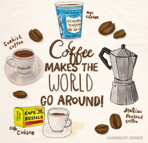 Coffee Makes the World Go Around by Wanderlust Designer