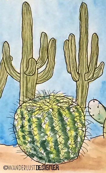 Saguaro and Golden Barrel Cactus, Tucson, Arizona (watercolor by Wanderlust Designer)