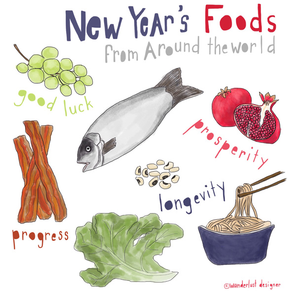 New Year's Foods from Around the World (illustration by Wanderlust Designer)