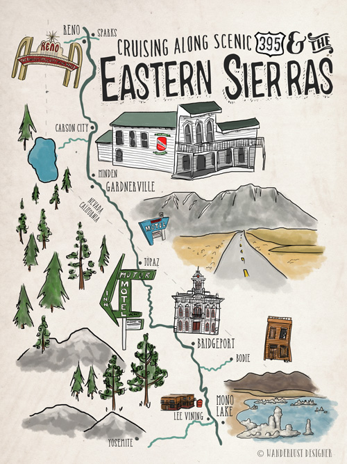 Cruising Along 395 and the Eastern Sierras (Illustrated Map by Wanderlust Designer)