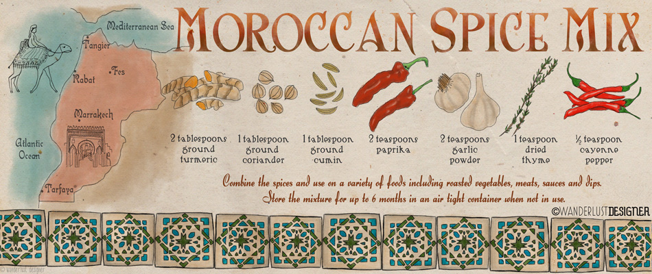A World of Flavors: Moroccan Spice Mix (illustration by Wanderlust Designer)