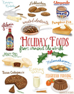 Holiday Foods from Around the World - Illustrations and Hand Lettering by Wanderlust Designer