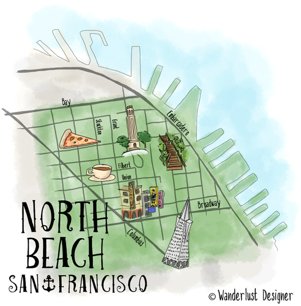 Illustrated Map of North Beach, San Francisco by Wanderlust Designer